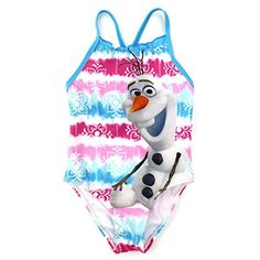 Disney Toddler Girl Frozen Olaf One Piece Swimsuit Blue  White 2T