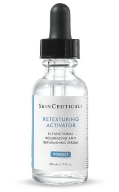 RETEXTURING ACTIVATOR This revolutionary resurfacing and replenishing serum helps to reinforce the skin's barrier for healthier, more radiant skin. Helps normalize epidermal renewal to create a noticeably smoother, softer surface texture. Stimulates enzymes that help break the bonds that bind dead cells to the surface of the skin, to diminish surface lines and wrinkles. #skinCeuticals #retexturizingActivator #faceSerums