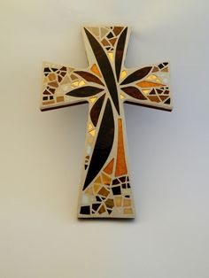 Large Mosaic Wall Cross, Abstract Floral, Sunset, Shades of Brown Gold, Handmade Stained Glass Mosaic 15 x 10 by GreenBananaMosaicCo Mosaic Art Projects, Mosaic Crafts, Mosaic Crosses, Wall Crosses, Mosaic Wall, Mosaic Glass, Fused Glass Art, Stained Glass, Mosaic Company