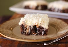 Chocolate Poke Cake with Whipped Coconut Icing - Willow Bird Baking