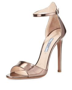 Metallic Leather High-Heel Sandal by Prada at Neiman Marcus.