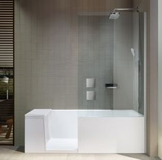 Shower + bath is a transformable object, but its multifunctionality is not the focus of attention rather two precise images which characterize the object. When used as a shower the door to the bathtub […] Body Mirror, Duravit, Design Language, Everyday Objects, Walk In Shower, Sustainable Design, Austria, Home Improvement, Bathtub