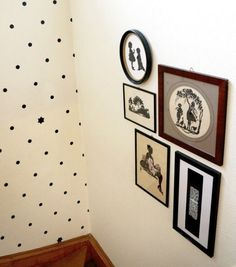5 Tips on Hanging a Growing Gallery Wall Gallery Wall Layout, Gallery Wall Frames, Stairway Gallery, Gallery Walls, Picture Arrangements, Candles In Fireplace, Polka Dot Walls, Hanging Pictures, Inspiration Wall