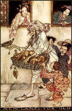 """""""New Lamps for Old"""" from the Arthur Rackham Fairy Book, 1933."""