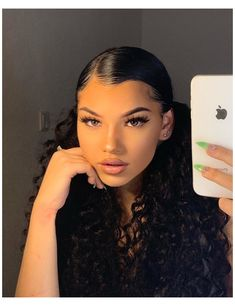 Cute Curly Hairstyles, Baddie Hairstyles, Girl Hairstyles, Relaxed Hairstyles, Latina Hairstyles, School Hairstyles, Wedding Hairstyles, Two Ponytail Hairstyles, Curly Hair Ponytail