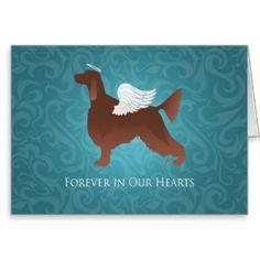 Irish Setter Pet Memorial Angel Dog Design Greeting Card
