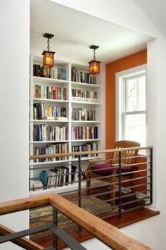 AphroChic: 5 Tips For Creating A Beautiful Library Nook - Richard Bubnowski Design LLC Bookshelf Design, Bookshelves, Staircase Bookshelf, Home Library Design, House Design, Library Ideas, Beautiful Library, Home Libraries, Deco Design