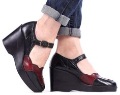ANKLE Strap PLATFORMS 70s Two Tone Leather Burgundy by BetaApparel