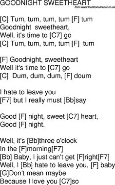 Old time song lyrics with chords for Goodnight Sweetheart F