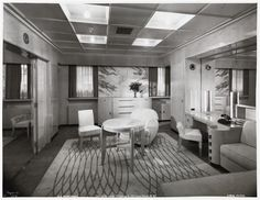 "Normandie, Suite de Luxe, ""Alencon"" sitting room Cabin Class, ca. Santa Cecilia, Corfu, Sea Queen, Queen Mary, 1930s House Renovation, Ss Normandie, Royal Cruise, Cruise Ship Reviews, Grand Luxe"