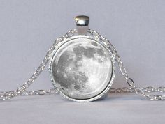 FULL MOON NECKLACE White Gray Full Moon Pendant Lunar Necklace Planet Jewelry Astronomy Pendant Science Jewelry Astronomer Gift 25mm