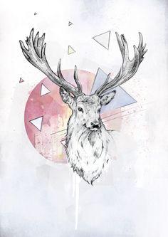 Deer Art Hipster Pinterest