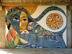 Respirando en el valle acr lico sobre tela mujer for Mural nuestra carne