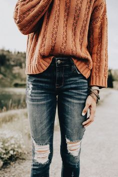 Burnt orange sweater + Distressed denim #fallstyle