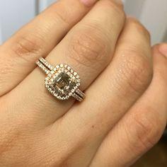 14k Rose Gold 1ct Brown Asscher Diamond Engagement Ring