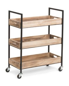 Usman 3 Tiered Storage Cart, With Wheels, Wood with Black Metal Frame, Brown, Kate and Laurel Garage Furniture, Space Saving Furniture, Home Furniture, Furniture Design, Small Modern House Plans, Small Accent Tables, Wooden Cart, Daybed With Storage, Interior Design And Construction