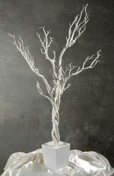 AMAZING price:  4 foot White Tree in Pot $45.   If you want to do it DIY, look for dead branches in your own yard, woods or a neighbor's yard.  Spray paint and spray glitter can work wonders.  Plaster of Paris in a container is all it takes to make this yourself.  Easy even for the DIY challenged!