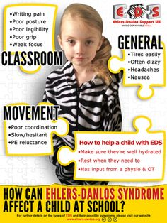 Children's awareness poster for schools - How does EDS affect a child in school? A4 poster to increase awareness and understanding in your children's school.  #ehlersdanlos #ehlersdanlossyndrome #hypermobility #hypermobilitysyndrome #EDS #HMS #VascularEDS #VEDS