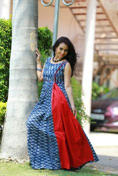 Ikat full lenth top available at all size Salwar Designs, Kurti Neck Designs, Blouse Designs, Kalamkari Dresses, Ikkat Dresses, African Fashion, Indian Fashion, Salwar Pattern, Casual Dresses