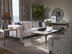 Loving the mirror!  Vanguard Furniture - Our Products - L9400-MI Robineau Road Upholstered Round Mirror