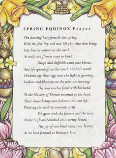 Sabbats and Esbats - Spring Equinox Prayer Wiccan Sabbats, Wicca Witchcraft, Magick, Wiccan Chants, Celtic Paganism, Wiccan Witch, Beltane, Mabon, Samhain