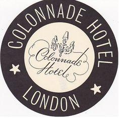 Colonnade Hotel, London luggage tag | travel  souvenirs . Reise  Souvenirs . voyage  souvenirs |