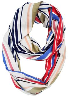Peach Couture Sassy Stripes Vintage Style Multi Color Light Infinity Loop Scarf Coral Blue