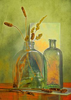 Still life bottle arrangement with a warm autumn palette. Artist At Work, Still Life, Greeting Cards, Wall Art, Drawings, Illustration, Painting, Bottles, Decor