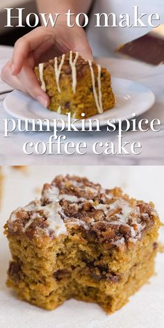 Pumpkin Spice Coffee Cake Pumpkin Spice Coffee Cake features a moist sour cream pumpkin cake loaded with brown sugar streusel and topped with a maple glaze. The best easy homemade recipe great for a crowd. Pumpkin Coffee Cakes, Pumpkin Spice Coffee, Spiced Coffee, Pumpkin Dessert, Pumpkin Bread, Pumpkin Crumble Cake, Pumpkin Cream Cheese Bread, Pumpkin Pound Cake, Pumpkin Oatmeal Cookies