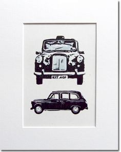 Taxi Linocut by ChickenUniverse