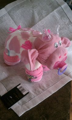 Diaper Cake  Diaper Cow  Baby Shower Gift, $17.00