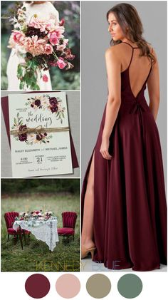 A deep red wedding color palette featuring blush and earthy tones of deep greens and neutrals. | Kennedy Blue Bridesmaid Dress Elizabeth in Bordeaux