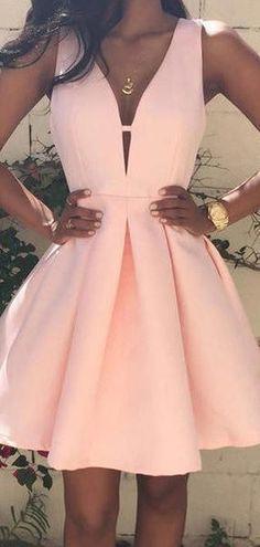 Pink homecoming dress - ALine Deep VNeck Sleeveless Pearl Pink Homecoming Dresses With VBack,Cute homecoming dresses – Pink homecoming dress Pretty Dresses, Sexy Dresses, Beautiful Dresses, Fashion Dresses, Awesome Dresses, Cute Formal Dresses, Pink Dresses, Formal Gowns, Casual Dresses
