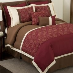 Add elegance to any bedroom with Flourish Red and Brown Comforter S.. - hearty-home.com