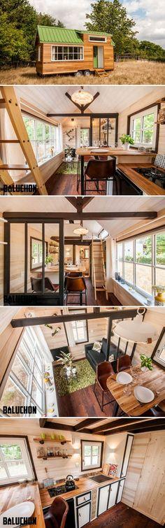 Das in Nantes, in Frankreich ansässige Unternehmen Baluchon kreierte das La Bohème, ein 6 m langes traditionell gestyltes Tiny House auf Rädern mit einem riesigen Fenster und hellem Interior.