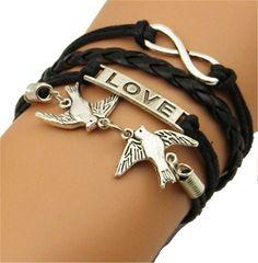 Anchor Double Hearts Love Silver Color Black Wax Cords Leather Braid Bracelet Rope Leather Bracelet