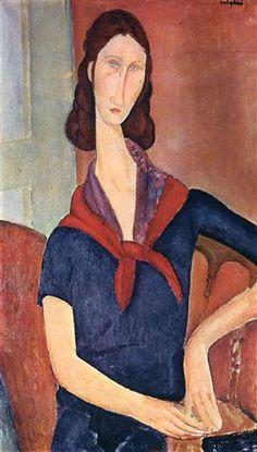 Jeanne Hebuterne (with a scarf) - Amedeo Modigliani #modigliani #paintings #art