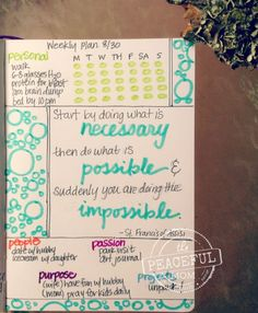 Get Organized with a weekly plan! See the unique format I use in my weekly plan and learn the steps to create your own plan so you can live your true priorities! -- from ThePeacefulMom.com