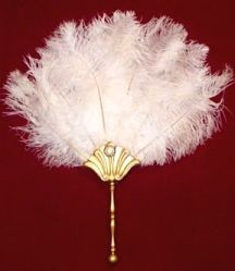"An elegant HAND-MADE fan using 9 black or white ostrich feathers with a wooden handle that has been painted with gold enamel.  Measures approximately 18"" from top of feathers to bottom of handle"