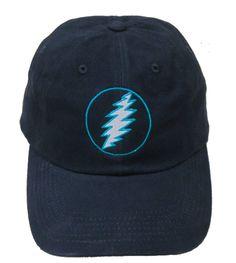 d926bdf11ed49 Grateful Dead Lightning Bolt Embroidered Baseball Hat in Navy with Teal
