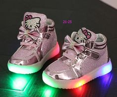 Girls shoes baby Fashion Hook Loop led shoes kids light up glowing sneakers little  Girls princess children shoes with light 1a5892db30d2