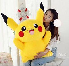 Pokemon plush toys large anime Yellow Pikachu doll birthday gift, Free Shipping 40cm
