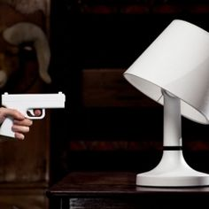"""""""Kill the lights"""" lamp with gun-shaped remote control from Bitplay."""