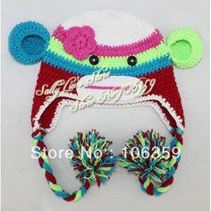 Girl Sock Monkey Crochet Hat Pattern Handmade Baby Monkey Beanie Crochet  Knit Animal Baby Hat 5pcs Free Shipping 84713a51bd7f