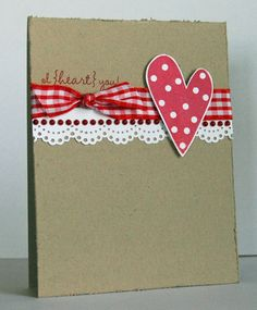 sweet and simple handmade valentine ... kraft base ... white lacy edged punched strip ... red gingham ribbon ... polka dot heart ...