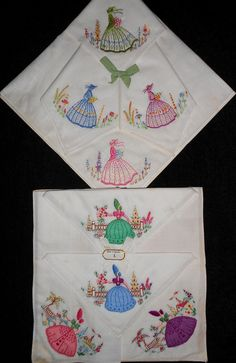 Crinoline southern belle handkerchiefs from the 1940s