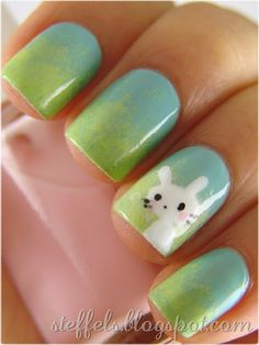 Ombre sponged green and blue nails with white bunny for Easter.