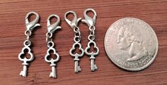 4 pcs ~ Tiny Keys antique silver tone charms ready to hang with lobster clasps by BuildUrBling on Etsy