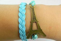 Bracelet - Antique Bronze Eiffel Tower bracelet blue wax rope braided  Leather Bracelet