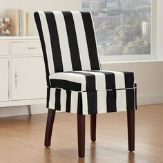 Captivating Sure Fit Cabana Relaxed Fit Dining Chair Slipcover Striped Black White